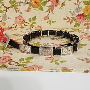 Tony Llama USA Made Leather Belt with Faux Silver